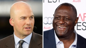 "At left, in a Sept. 19, 2016, file photo, Matt Hasselbeck talks during ESPN's Monday Night Countdown in Chicago. At right, in a Nov. 10, 2015, file photo, former NFL football player Leonard Marshall smiles at the screening of the film ""Concussion"" in Los Angeles. (AP Photo/File)"