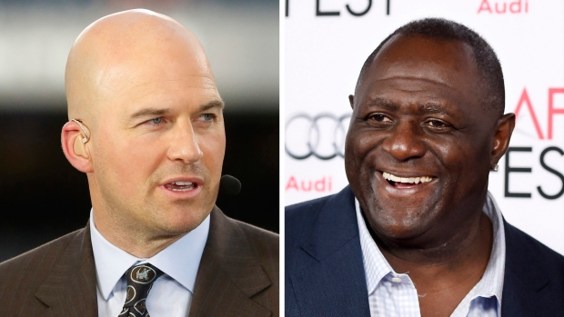 """At left, in a Sept. 19, 2016, file photo, Matt Hasselbeck talks during ESPN's Monday Night Countdown in Chicago. At right, in a Nov. 10, 2015, file photo, former NFL football player Leonard Marshall smiles at the screening of the film """"Concussion"""" in Los Angeles. (AP Photo/File)"""