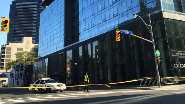 Glass falling from hotel on Bay Street