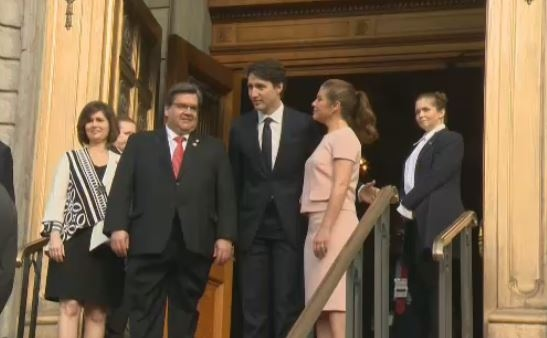 The Coderres and Trudeaus attend morning mass for Montreal's 375th celebrations.