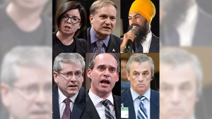 From top left: Niki Ashton, Peter Julian and Jagmeet Singh; Bottom left: Charlie Angus, Guy Caron and Pat Stogran.