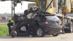 A woman is dead after a violent collision involving a small SUV and a crane in Middlesex County on Wednesday, May 17, 2017. (Sean Irvine / CTV London)