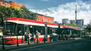 A TTC Spadina streetcar is pictured in this file photo. (Amara McLaughlin/CP24)
