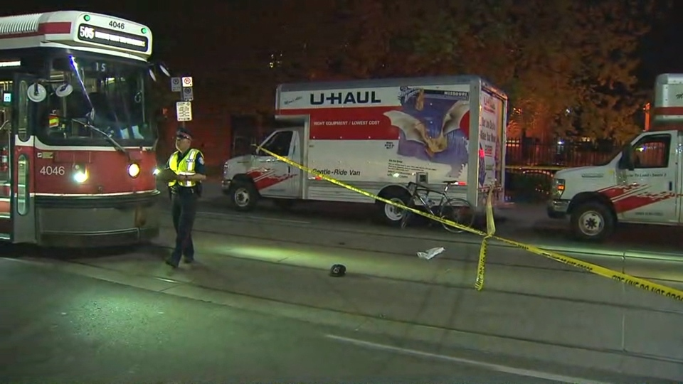 The cyclist wasn't wearing a helmet when a U-Haul driver opened his door in front of him near Kensington Market, police say. (CP24)