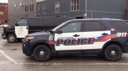 An OPP van and Stratford Police vehicle in St. Marys. (CTV London)