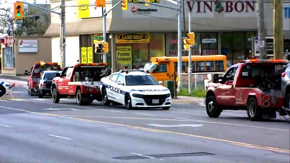 A police cruiser is towed away in Brampton following a collision with two other vehicles.