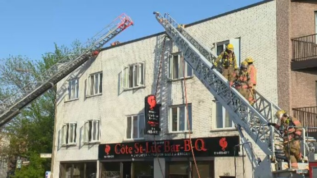 small fire at cote st luc bar b q causes traffic tie ups. Black Bedroom Furniture Sets. Home Design Ideas