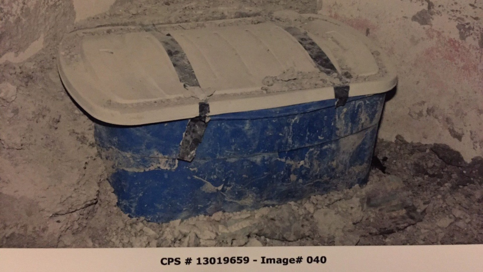 The container investigators alleged was used to contain the body of Lisa Mitchell is seen in this undated police handout image which was entered into evidence in the trial of Allan Shyback. (THE CANADIAN PRESS/HO-Calgary Police Service)