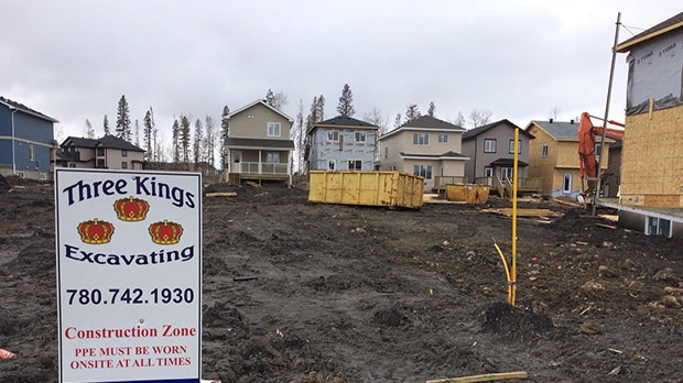 New homes are under construction in the Fort McMurray neighbourhood of Timberlea.