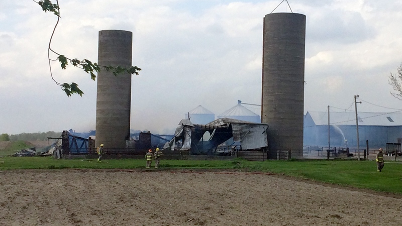 A barn on Township Road 13 near Bright was destroyed by fire on Thursday, May 18, 2017. (Matt Harris / CTV Kitchener)
