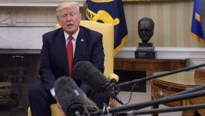 U.S. President Donald Trump speaks in the Oval Office of the White House in Washington, Thursday, May 18, 2017, during his meeting with Colombian President Juan Manuel Santos. (Susan Walsh/AP Photo)