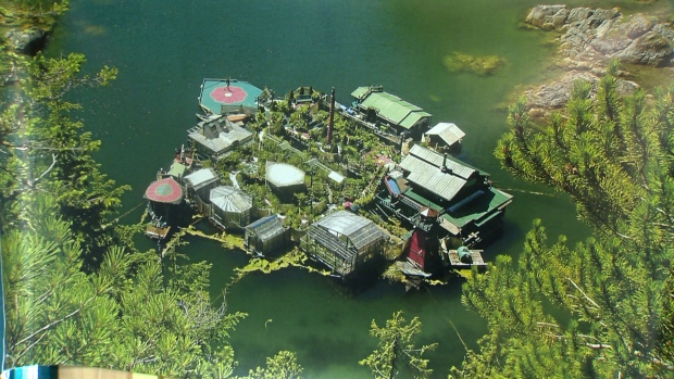 An man-made floating island near Tofino, B.C. has attracted worldwide attention for its unique design and off-the-grid allure. Freedom Cove was built on top of recycled fish farms and includes a main house and several outbuildings, including four greenhouses. May 18, 2017. (CTV Vancouver Island)