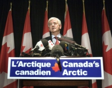 Foreign Affairs Minister Lawrence Cannon speaks to reporters after a speech to the International Relations Council on Arctic sovereignty in Montreal Friday, March 27, 2009. (Ryan Remiorz / THE CANADIAN PRESS)