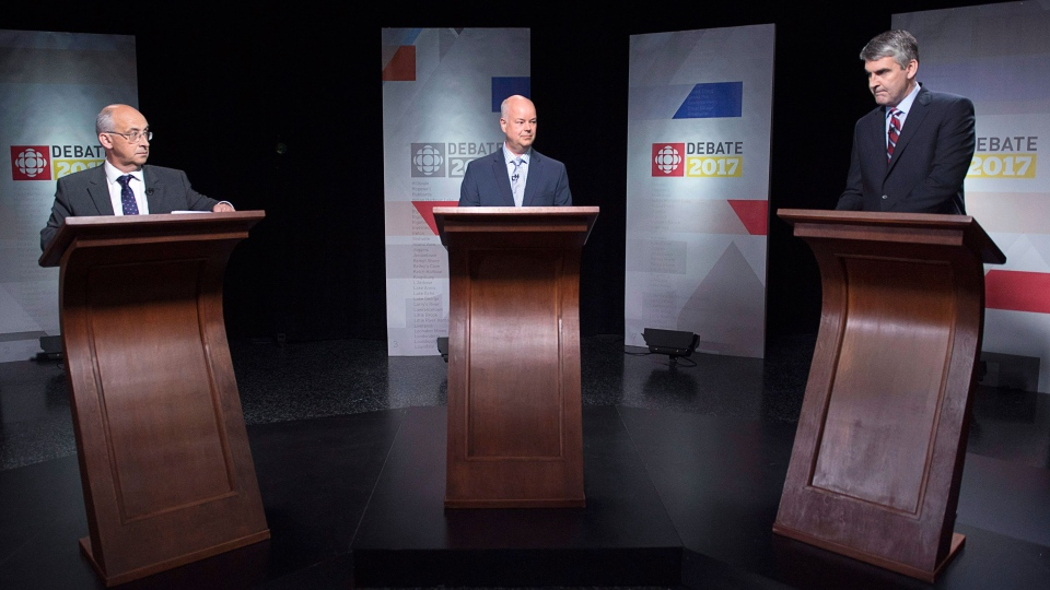 Nova Scotia NDP Leader Gary Burrill, N.S. Progressive Conservative Leader Jamie Baillie, and N.S. Liberal Leader Stephen McNeil, left to right, wait for the start of the leaders' debate in Halifax on Thursday, May 18, 2017. The provincial election will be held Tuesday, May 30. (THE CANADIAN PRESS/Andrew Vaughan)