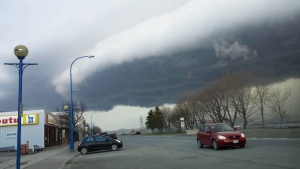 Erica Robyn Doucet snapped this awesome photo of a shelf cloud.  It was taken last evening in Dalhousie NB