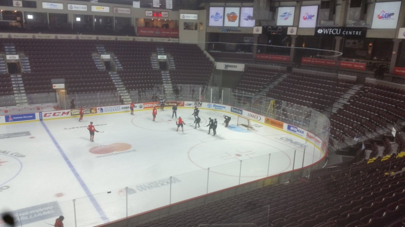 The Windsor Spitfires are on the ice preparing to open the Memorial Cup round-robin in Windsor, Ont., on Friday, May 19, 2017. (CTV Windsor)