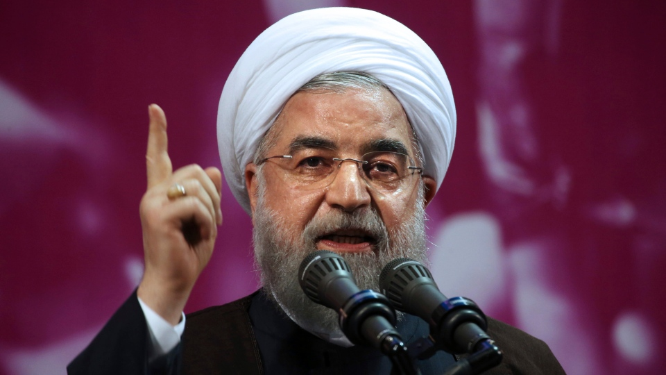 In this Tuesday, May 9, 2017 file photo, Iranian President Hassan Rouhani speaks in a campaign rally for May 19 presidential election in Tehran, Iran. (AP Photo / Vahid Salemi, File)