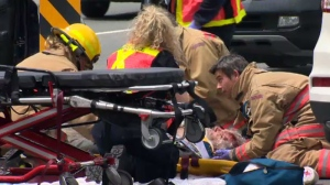 A cyclist was rushed to hospital with non-life threatening injuries after being struck on the Trans-Canada Highway near Uptown Mall in Saanich Friday, May 19, 2017. (CTV Vancouver Island)