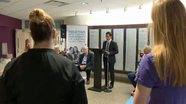 Dr. Sunil Verma addresses staff and patients during International Clinical Trials Day at the Tom Baker Cancer Centre