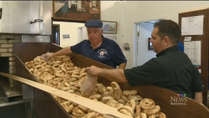 St. Viateur bagels come out of a wood-burning oven