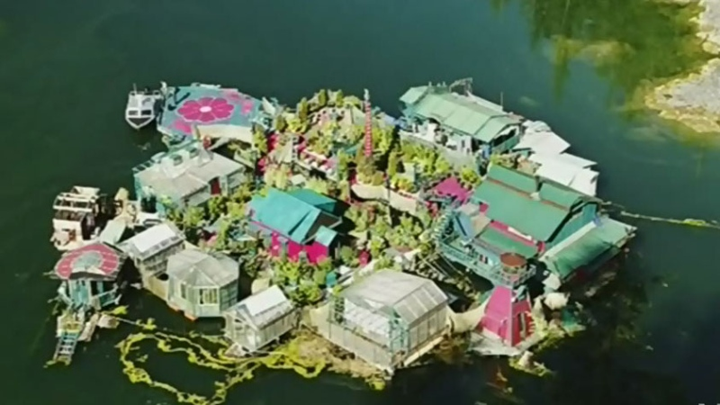 Couple's floating island thrust in media spotlight