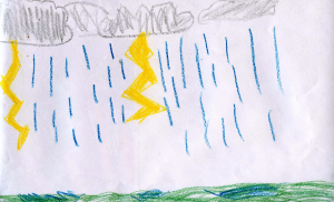 Weather art by Parker, age 8.