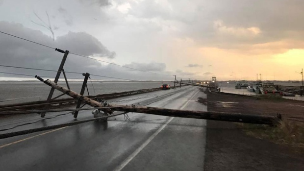 A number of downed power lines are seen in Shippagan, N.B. after a thunderstorm raged across northern New Brunswick. (Suzane Arsenault/Facebook)