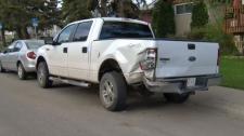 Damaged Ford F-150 - crash involving stolen SUV