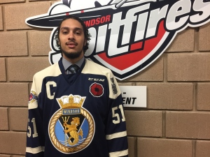 The CHL commemorative jersey is worn by Jalen Chatfield