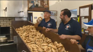 St. Viateur owner Joe Morena oversees the production of thousands of bagels from his shop, which over time has become a landmark to Montrealers near and far. (CTV Montreal)