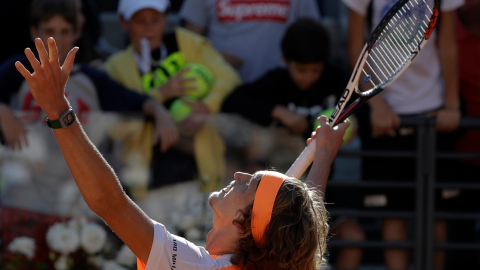 Germany's Alexander Zverev celebrates after winning his semi final match against John Isner, of the United States, at the Italian Open tennis tournament, in Rome, Saturday, May 20, 2017. (AP Photo/Gregorio Borgia)