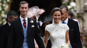 Pippa Middleton, right and James Matthews walk, after their wedding ceremony, at St Mark's Church in Englefield, England Saturday, May 20, 2017. Middleton, the sister of Kate, Duchess of Cambridge married hedge fund manager James Matthews in a ceremony Saturday where her niece and nephew Prince George and Princess Charlotte was in the wedding party, along with sister Kate and princes Harry and William. (Justin Tallis  /Pool Photo via AP)