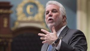 Quebec Premier Philippe Couillard Tuesday, April 25, 2017 at the legislature in Quebec City.  THE CANADIAN PRESS/Jacques Boissinot