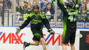 Saskatchewan Rush players celebrate during game two of the National Lacrosse League West Division final in Saskatoon on Friday, May 20, 2017. (Saskatchewan Rush)
