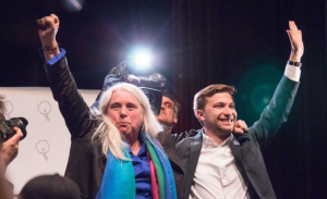Manon Masse and Gabriel Nadeu-Dubois were elected as spokespeople for Quebec Solidaire, and will lead the party in the 2018 election. (Photo by Quebec Solidaire/Twitter)