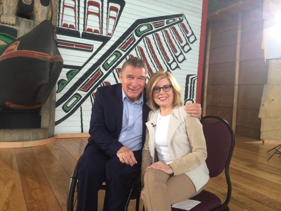 'Man in Motion' Rick Hansen is shown with CTV National News anchor Sandie Rinaldo at the Canadian Museum of History in Gatineau, Que.
