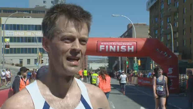 Greg Wieczorek of Halifax was the top finisher in the 2017 Blue Nose Marathon.