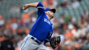 Toronto Blue Jays starting pitcher Marco Estrada throws against the Baltimore Orioles in the first inning of a baseball game, in Baltimore, on Sunday, May 21, 2017. (AP Photo/Gail Burton)
