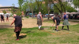 Participants in the Scottish heavy athletics competitions take part in the Saskatchewan Highland Gathering and Celtic Festival in Regina on Victoria Day weekend 2017. (Taylor Rattray/CTV Regina)
