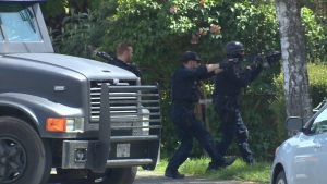 The incident prompted a lengthy search for the shooter and shut down the 1700-block of Kings Road for hours as police investigated a residence. May 21, 2017. (CTV Vancouver Island)