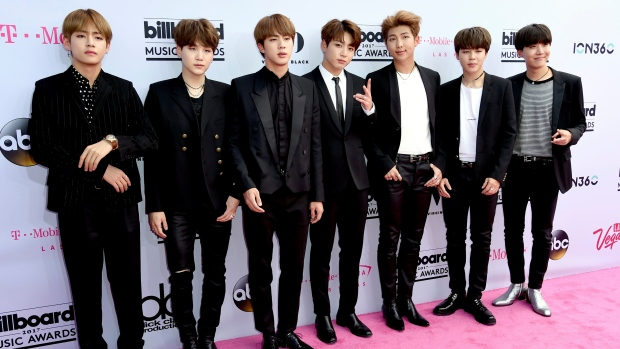 BTS, a South Korean band, arrives at the Billboard Music Awards at the T-Mobile in Las Vegas. (Photo by Richard Shotwell / Invision / AP)