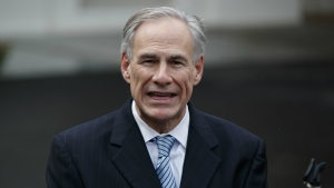 Texas Gov. Greg Abbott talks to reporters outside the White House in Washington on March 24, 2017. (AP / Evan Vucci)