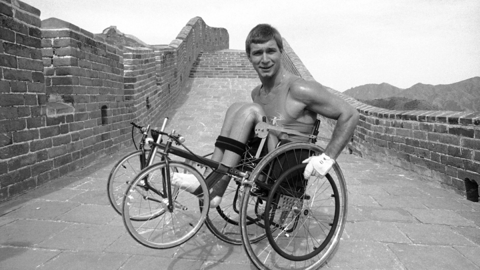 Rick Hansen on the Great Wall of China, on April 13, 1986. (Neal Ulevich / AP)