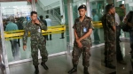 Thai soldiers block the entrance of Phramongkutklao Hospital in Bangkok after a bomb wounded more than 20 people, in Bangkok, May 22, 2017. (Sakchai Lalit / AP)