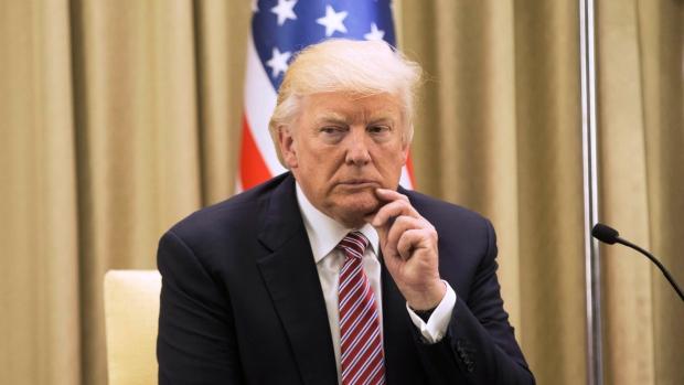 U.S. President Donald Trump sits during his meeting with Israeli President Reuven Rivlin in Jerusalem, May 22, 2017. (Atef Safadi, EPA Pool via AP)