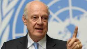 UN Special Envoy of the Secretary-General for Syria Staffan de Mistura talks to the media during a press conference at the European headquarters of the United Nations in Geneva, Switzerland on May 19, 2017. (Martial Trezzini/Keystone via AP)
