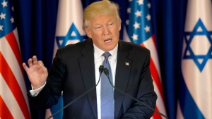 U.S. President Donald Trump talks during a briefing after his meeting with Israeli Prime Minister Benjamin Netanyahu in Jerusalem, Monday, May 22, 2017. (AP Photo/Ariel Schalit)
