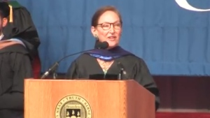 Supreme Court of Canada Justice Rosalie Abella speaks at Brandeis University in the U.S. on May 21, 2017. (Brandeis University / YouTube)