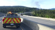 """A """"dangerous goods fire"""" that shut down part of the Coquihalla Highway on Monday, May 22, 2017 is seen in this social media photo. (Twitter / @VSAMaintenance)"""