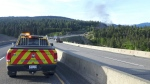 "A ""dangerous goods fire"" that shut down part of the Coquihalla Highway on Monday, May 22, 2017 is seen in this social media photo. (Twitter / @VSAMaintenance)"